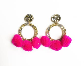 Gold and silver glitter pink Pom Pom earrings, drop earrings, acrylic earrings, laser cut earrings