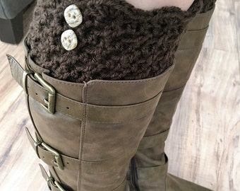 Crochet boot cuff, brown boot cuff, wide calf boot cuff, stretchy boot cuff, crochet sock, long sock, gift idea, black boot cuff,