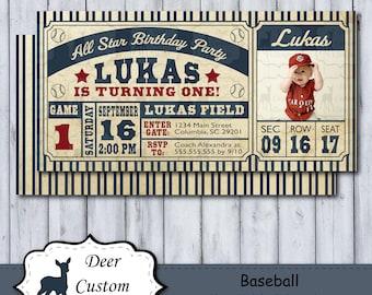 Baseball Birthday Invite | Baseball Invitation | Baseball Birthday Party | Baseball Ticket Invite | Vintage Baseball Ticket Invite | Photo