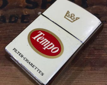Vintage TEMPO Penguin Cigarette / Cigar Lighter / Flip Top Style / Tobacco / Advertise