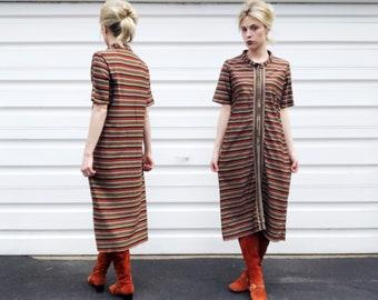 Vintage 60s Chocolate Brown Orange White Mini Patterned Tea Length Short Sleeve Midcentury Dress S/M