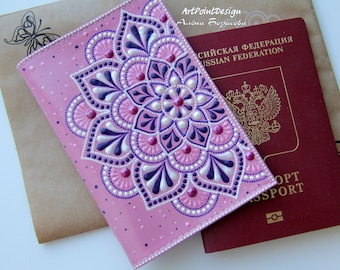 READY TO SHIP / Passport cover, leather passport holder, leather case, Pink, Mandalas Art