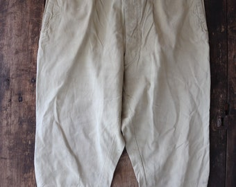 """Vintage 1940s 40s cream tan brown cotton breeches trousers pants 38"""" x 24"""" button fly hunting riding workwear work chore buckle back v notch"""