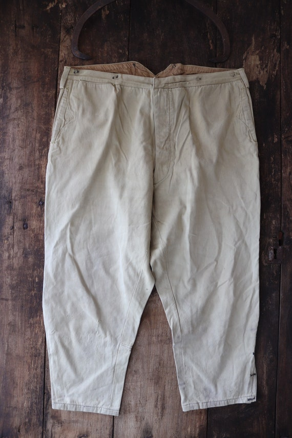 "Vintage 1940s 40s cream tan brown cotton breeches trousers pants 38"" x 24"" button fly hunting riding workwear work chore buckle back v notch"