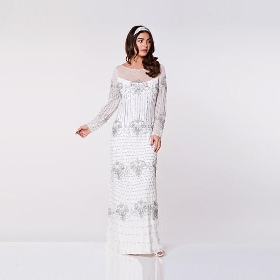Weiß Silberhochzeit Kleid Prom Maxi Dolores Dress mit Ärmeln