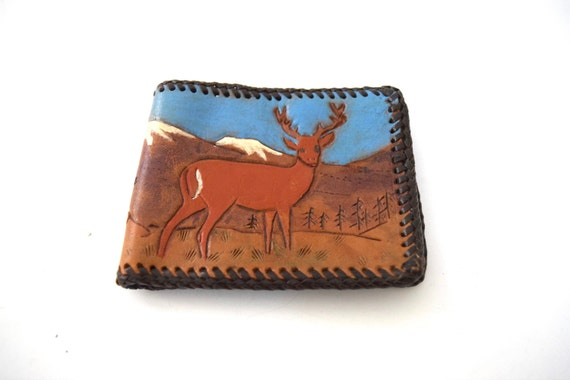 Vintage 60s 70s Deer and Mountain Scene Tooled and Painted Leather Bifold Wallet