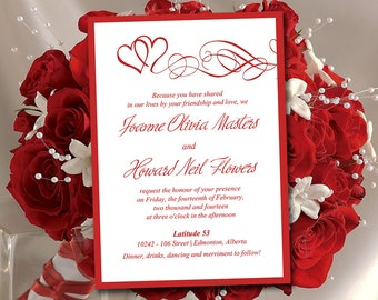 "Heart Wedding Invitation Template - Red Wedding Invitation Card ""Double Hearts"" Wedding Invitation Instant Download - DIY Wedding Template"