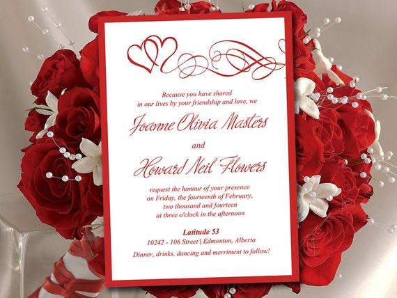 Heart Wedding Invitation Template Red Wedding Invitation - Wedding invitation templates: red wedding invitation templates