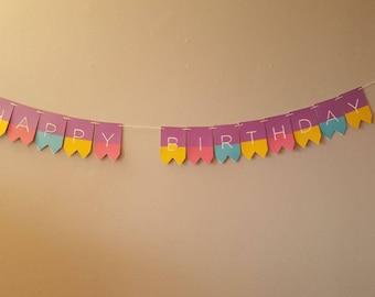 Customizable Happy Birthday Banner, Happy Birthday Girl, Happy Birthday Banner, Purple banner, girl banner, Happy Birthday, Handmade, Girl