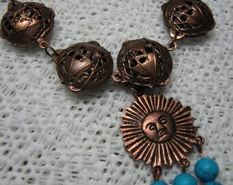 Antique Copper  Patina Brass and Turquoise Bracelet