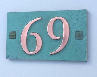 "Copper house numbers  with plywood back , screw fixing 2 x nos.3""/75mm, 4""/100 mm high in Garamond g"