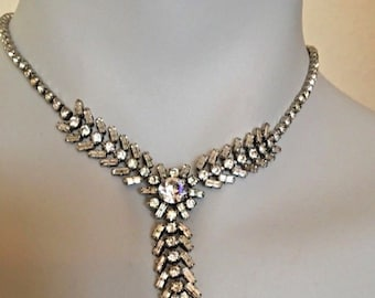 Vintage 1950's Clear Drop Diamante  Rhinestone Necklace Bridal Wear Prom night Special occasion Jewellery