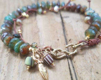 Green Chalcedony Bracelet and 24k Gold Vermeil, Gold Fertility Goddess, African Trade Bead, Leather and Gold Bracelet, Two Tone Chalcedony