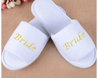 Bridal slippers, Bride, Bride to be, Bridal Shower, Printed Slippers