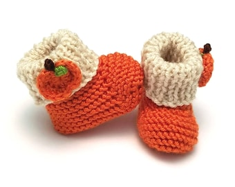 Pumpkin Baby Booties • Autumn Baby Booties • Fall Baby Booties • Pumpkin Newborn Photo Prop • Pregnancy Announcement Prop • Baby Shower Gift