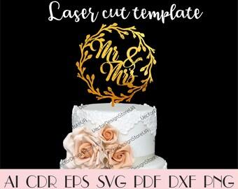 Mr&Mrs cake topper svg,Mr and Mrs sign,Wedding cake topper,Rustic cake topper,Rustic wedding,Cake topper svg,CNC files,Cake decor CTT-137