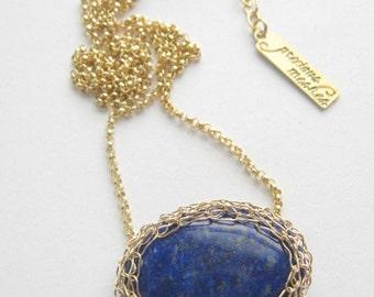 Lapis Lazuli Gold Mesh Necklace Precious Meshes