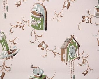 1950's Vintage Wallpaper - Retro Mid Century Kitchen Candles and Clocks
