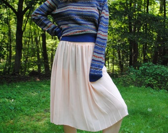 Vintage Skirt, Pleated Skirt, 80's Clothing, Sheer Skirt, Light Pink, Soft Grunge, Twee, Medium, Large, Vintage Clothing, 90's Clothing