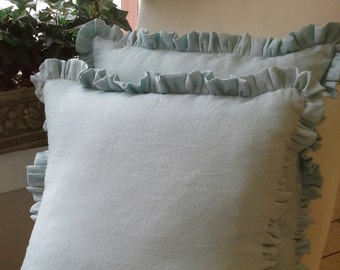 Washed linen ruffled european shams