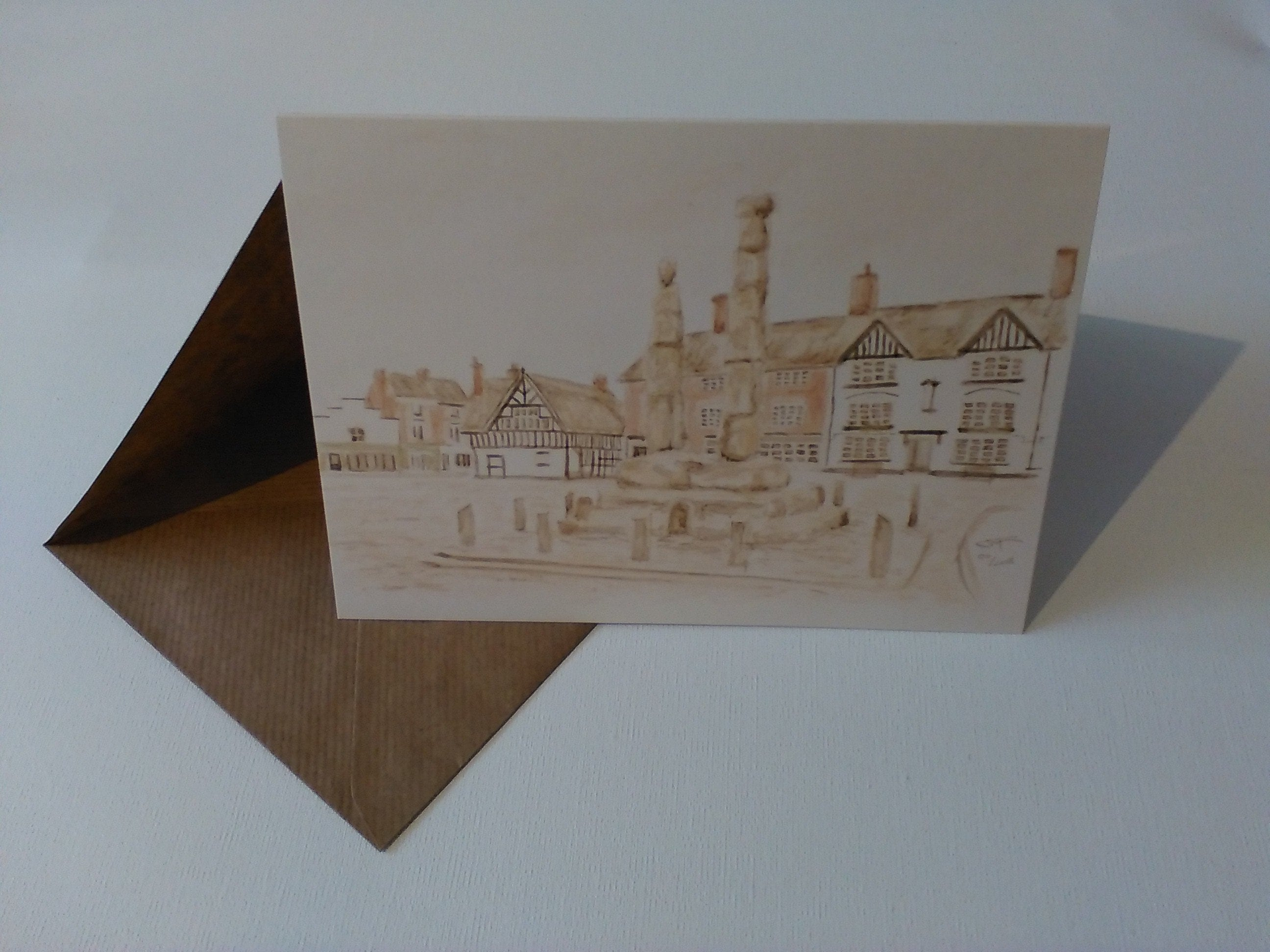 Sandbach Crosses Watercolour Greeting Card With Envelope In