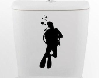 Scuba Diver DECAL- toilet Home Decor, Vinyl Wall Art, Shower, Bathroom, Interior Design