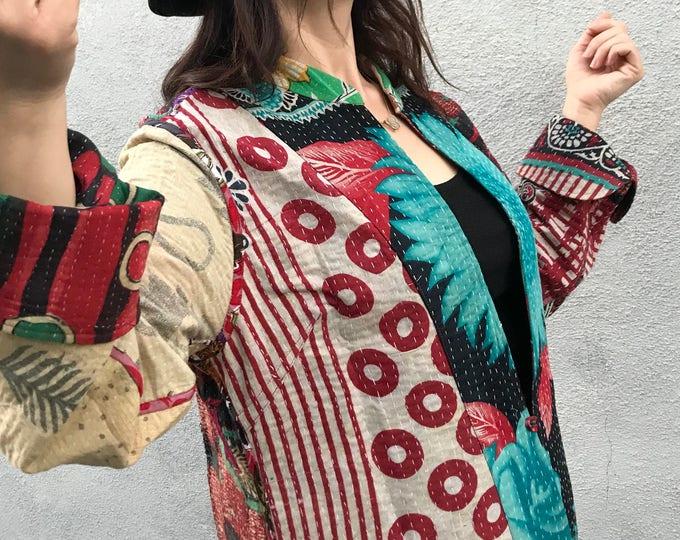 Wild polka dots mixed patchwork kantha coat
