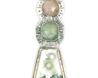 Pale sage pendant - ocean jasper and sapphire necklace - one of a kind statement piece