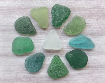 Genuine Sea Glass Bulk Beach Glass Surf Tumbled Sea Glass Green Emerald Teal Natural Sea Glass Sea Glass Art Crafts M001(10)
