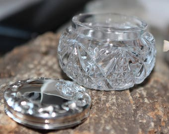 A Sparkling Cut Glass Bowl And Silver Cover   SKU1424