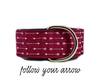 """Arrow Martingale Dog Collar: Maroon/ Burgundy; satin lined; 1"""",1.5"""",2"""" widths available; adjustable length; perfect for greyhound & training"""