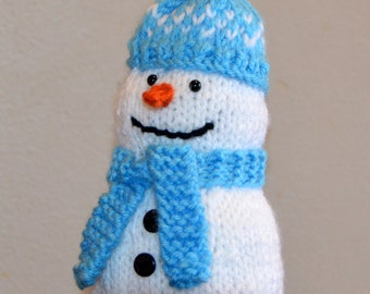 OOAK Hand Knit Snowman Christmas Decoration Toy.