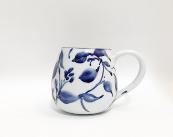 Blue and white hand painted  wheel thrown mug – ceramic – porcelain