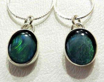 Austrailian Opal Stone Necklace Set In Sterling Silver