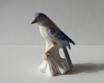 Vintage Blue & Gray Bird Figurine