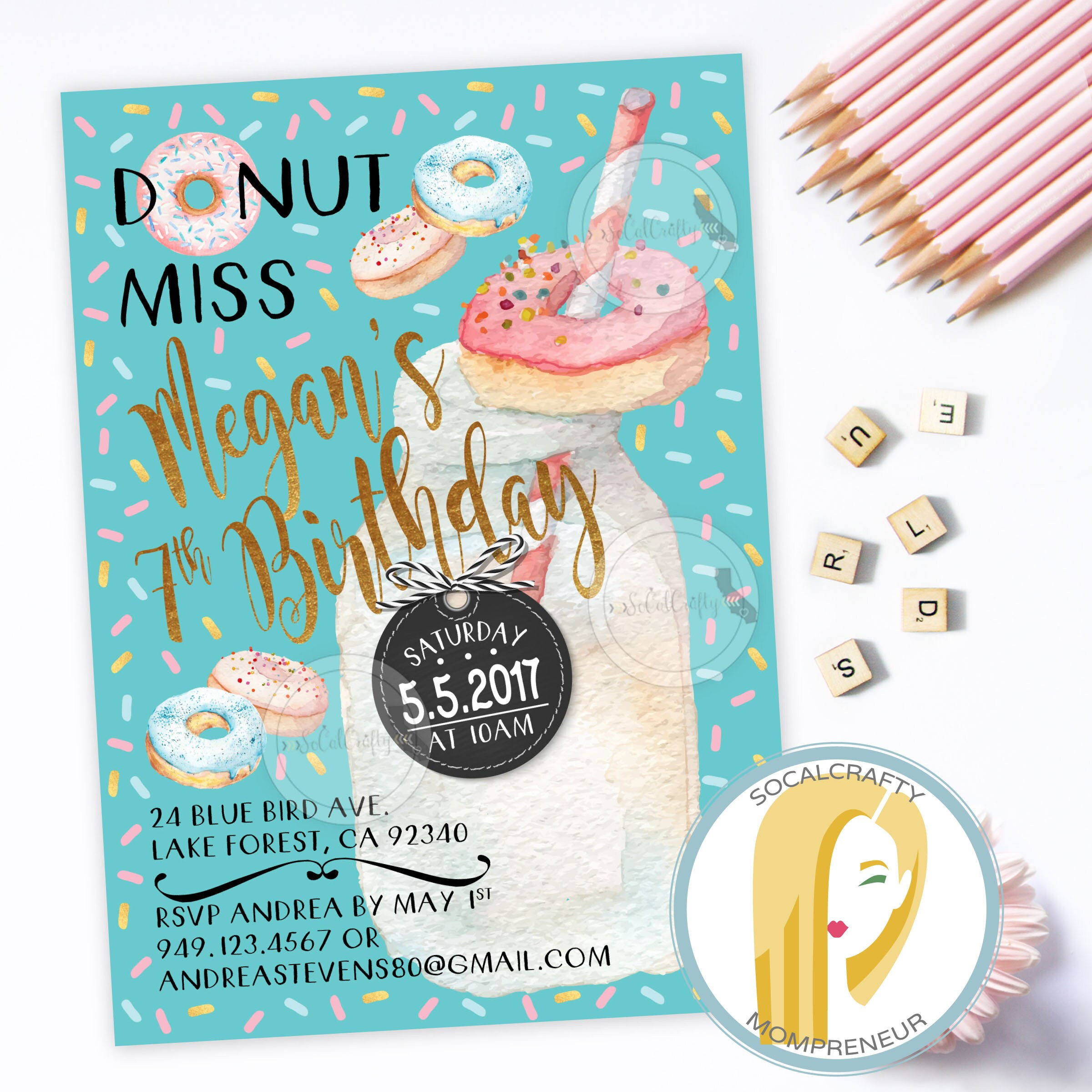 Donut Birthday Party Invitation Donut Invitation Sprinkles