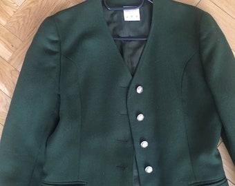 Wool green blazer with brass buttons
