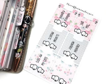 emoti sticker tabs (spring) - hand drawn emoti stickers for your planner!