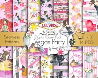 Watercolor Digital Paper , Vegas Digital Paper Pack, Party Digital Paper, Birthday Digital Paper, Casino Digital Paper, Pink Paper Pack
