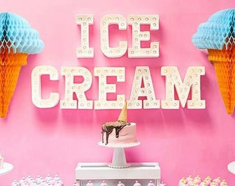Ice Cream  Honeycomb Decoration Ice Cream Party Decorations Hanging Ice Cream Cones Ice Cream Party Decoration Birthday Banner Sign Hanging