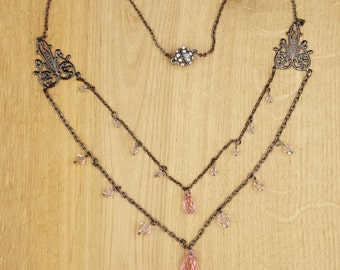 Swarovski Rose Crystal Gunmetal necklace, Art Nouveau inspired.