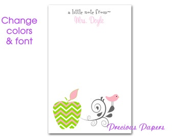 Personalized teacher pink and green chevron apple notepad pink and green chevron apple note pad