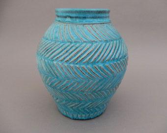 Turquoise Pottery Ceramic Vase - Round Wide Mouth Flower Vase