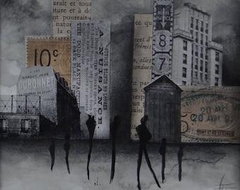 "Collage / mixed media / ""Urban"" original artwork: watercolor / Collage / charcoal / city / Vintage / Retro"