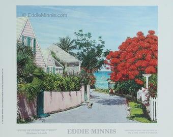 Pride of Dunmore Lane - Bahamian art print of original oil painting by Eddie Minnis