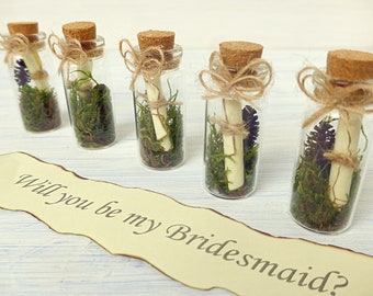 will you be my bridesmaid message in a bottle Maid of Honor proposal party bridal shower personalized asking message gift box inside secret