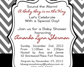 Firetruck Baby Shower Invitation for a Baby Boy- red, black & Gray