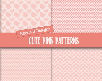 Pink Digital paper, Baby Girls Nursery backgrounds Downloadable scrapbooking cardstock Instant Download, patterned paper packs, girls room
