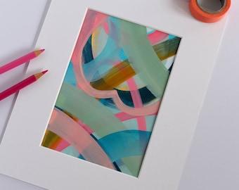 Summer Love. Small Abstract Painting. Original Art. Modern Art. Contemporary Acrylic Painting. Pink. Blue. Green. Canvas Wall Art