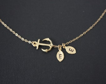 personalized  sideways  GOLD Anchor with Two  Initial Leaves Necklace  - sailors, ocean, sea, navy necklace, personal gift, birthday gifts